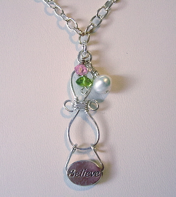"Sterling Silver ""Believe""  Message Pendant with Chain"