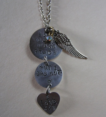 Metal Stamped Pendant Necklace with Angel Wing