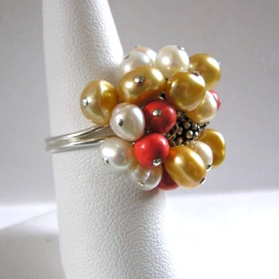 Sterling Silver Pearl and Coral Ring