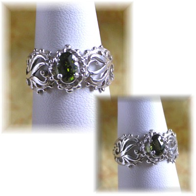 Sterling Silver and Olive Green Cubic Zirconia Ring