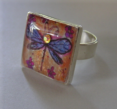 Sterling Silver Dragonfly Resin Ring