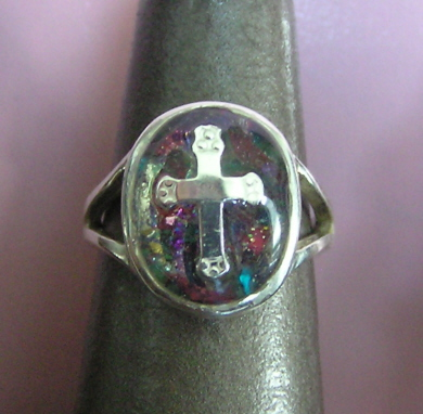 Sterling Silver Resin Cross Ring