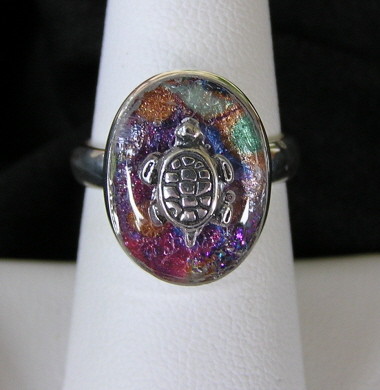 Sterling Silver Resin Ring with Turtle