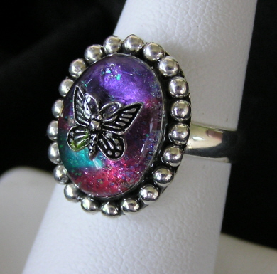 Sterling Silver Resin Ring with Butterfly