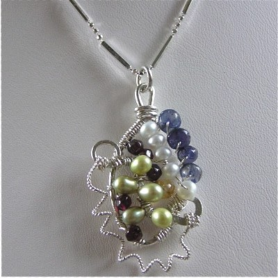 Sterling Silver Multi-Gem Necklace