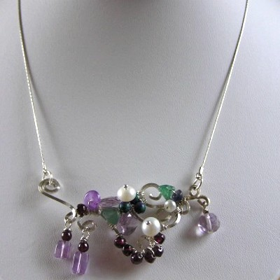 Sterling Silver Gem Necklace