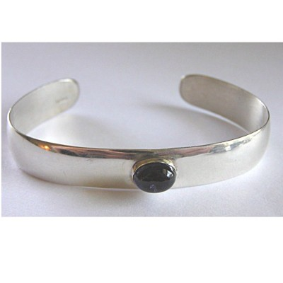 Sterling Silver Cuff Bracelet with Iolite